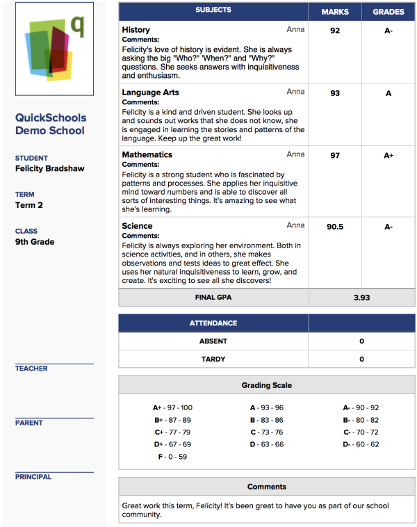 school management system report card templates for k 12 schools